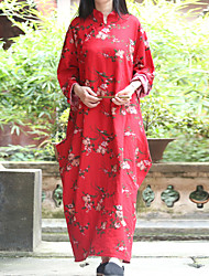 Cynthia Women's Casual/Daily Chinoiserie Tunic DressFloral Stand Maxi Long Sleeve Red Cotton / Linen Spring