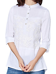 Spring Fall Women's Go out Casual Embroidered Loose comfortable Stand Collar  Sleeve Blouse