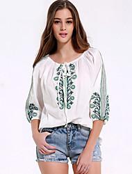 Damen Stickerei Einfach Ausgehen / Lässig/Alltäglich T-shirt,Rundhalsausschnitt Alle Saisons ¾-Arm Weiß Baumwolle / Polyester Mittel