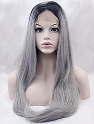 grado superiore di due toni T1b / parrucche sintetiche grigio parrucca anteriore calore capelli dritti pizzo resistente