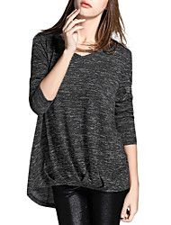 Damen Solide Einfach Lässig/Alltäglich T-shirt,V-Ausschnitt Frühling / Herbst Langarm Rot / Schwarz / Lila Baumwolle / Kunstseide Dünn