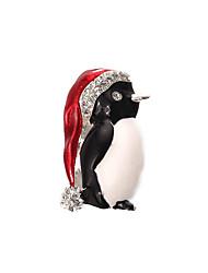 Weihnachtsfrauen golden schwarz Pinguin Broschen