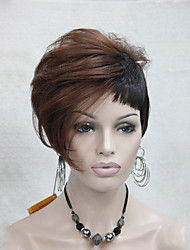 High Quality Heat Friendly Red Auburn Mix Dark Brown Asymmetri Women's Short Wig
