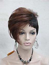Mujer Pelucas sintéticas Sin Tapa Corto Liso Castaño rojizo Pelo reflectante/balayage Corte Pixie Corte asimétrico Con flequillo Peluca