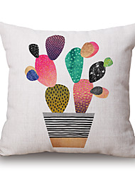 Polyester Decorative Cushion Pillow Cover Print Plant Cactus Sofa Home Decor 45x45cm