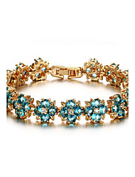 Women's Tennis Bracelet Jewelry Wedding Party/Birthday/Daily/Casual Fashion Zircon Brass Gold Plated Blue 1pc Gift