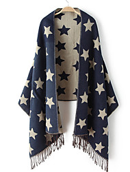 Women Vintage Casual Rectangle Blue Print Cashmere Scarf