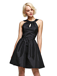 A-Line Halter Knee Length Taffeta Cocktail Party Dress with Draping