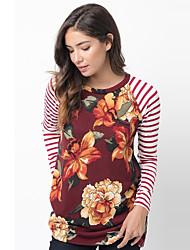 Damen Gestreift / Blumen Retro / Street Schick Lässig/Alltäglich T-shirt,Rundhalsausschnitt Frühling / Herbst Langarm Rot / Schwarz