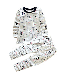 Boy's Casual/Daily Plaid Clothing Set,Cotton Winter White