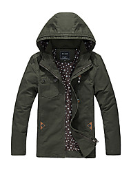 Men's Casual/Daily Vintage JacketsSolid Hooded Long Sleeve Winter Black / Brown / Green Cotton Thick