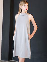 Damen Solide Einfach Ausgehen Bluse,Ständer Frühling / Sommer Ärmellos Grau Polyester Undurchsichtig