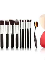10pcs Makeup Brushes And Makeup Toothbrush Fashion Makeup Brush Set And Makeup Puff