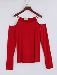 Women's Casual/Daily Street chic Fall T-shirtSolid Strap Long Sleeve Cotton Thin
