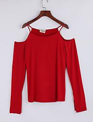 Damen Solide Street Schick Lässig/Alltäglich T-shirt,Gurt Herbst Langarm Blau / Rot / Weiß / Braun Baumwolle Dünn