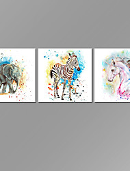 VISUAL STAR Animal Wall Art for Home Decoration Elephant zebra horse Canvas Prints with Frame