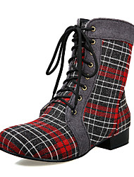 Women's Boots Fall / Winter Shoes & Matching Bags Denim Party & Evening / Casual Low Heel / PlaidBlack / Green