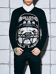 Men's Casual/Daily / Work Simple / Boho / Punk & Gothic RegularAnimal Print Multi-color Stand Long Sleeve Wool Fall