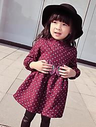 Robe Fille de Points Polka Sortie Coton Hiver / Printemps / Automne Rouge