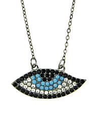 Fashion Rhinestone Eye Shape Pendant Necklaces