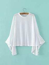 Tee-shirt Femme,Couleur Pleine Sortie simple Automne Manches Longues Col Arrondi Blanc / Noir Polyester Moyen