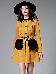 Maxlindy Women's Going out / Casual/Daily / Holiday Vintage / Street chic / Sophisticated Coat
