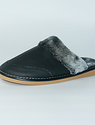 M.livelihood.H Men's Slippers & Flip-Flops Winter Slingback Cowhide Casual Flat Heel Others Black Others-TY201610