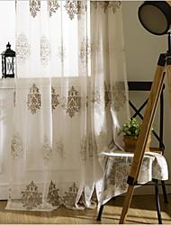 Dois Painéis Tratamento janela Europeu , Flor Quarto Poliéster Material Sheer Curtains Shades Decoração para casa For Janela