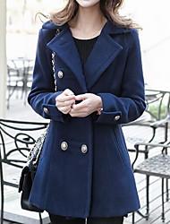 Feminino Casaco Trench Casual Moda de Rua Outono / Inverno,Sólido Azul / Vermelho / Amarelo Lã / Algodão Colarinho de Camisa-Manga Longa