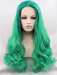 Sylvia Synthetic Lace front Wig Green Hair Ombre Hair Heat Resistant Long Natural Wave Synthetic Wigs