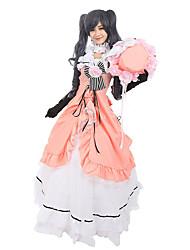 Une Pièce/Robes Tenus de Servante Gothique Lolita Classique/Traditionnelle Steampunk® Cosplay Vêtrements Lolita Fleur Manches 3/4 Long