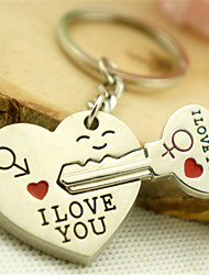 Metal Heart-Shaped Key Chain Car Key Pendant Couple Keychain Paper Card MX-017