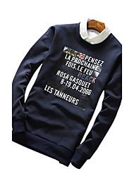 Sweatshirt Pour des hommes Lettre Décontracté / Sport Polyester Manches longues Noir / Bleu / Gris