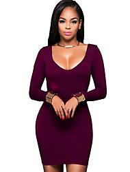 Women's Casual/Daily Simple Bodycon DressSolid Slim Round Neck Mini Long Sleeve Mid Rise Micro-elastic Medium