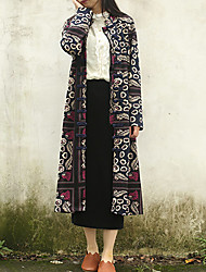 Mujer Tejido Oriental Casual/Diario Floral Gabardina,Escote Chino Manga Larga Primavera / Otoño Algodón Negro Medio