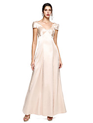 2017 TS Couture® Formal Evening Dress - Elegant A-line V-neck Floor-length Stretch Satin with Pleats