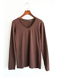 Tee-shirt Femme,Couleur Pleine Décontracté / Quotidien simple Automne Manches Longues Col en V Blanc / Marron Coton Moyen