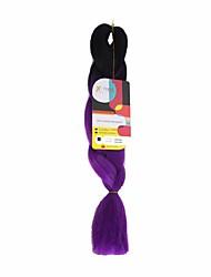 Jumbo Braids Black to Purple Two Tones Ombre Synthetic Hair Braids 18inch Kanekalon 115g