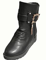 Women's Boots Winter Comfort PU Casual Low Heel Tassel Hook & Loop Chain Black Brown Walking