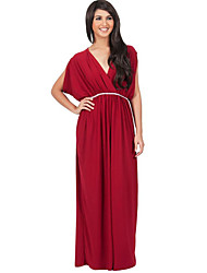 Women's Plus Size / Casual/Daily Sexy / Simple Sheath DressSolid Ruched Slim V Neck Maxi Sleeveless
