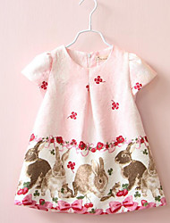 Girl's Casual/Daily Animal Print Dress / Overall & JumpsuitCotton Spring / Fall Pink