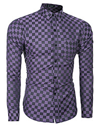 Men's Wedding / Formal / Work Simple All Seasons Shirt,Check Shirt Collar Long Sleeve Blue / Brown / Purple Cotton Thin