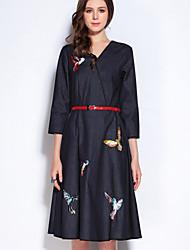 Mary Yan & Yu Women's Casual/Daily Simple A Line DressAnimal Print V Neck Knee-length Long Sleeve Black Cotton Fall Mid Rise Inelastic Medium