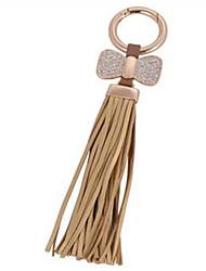 Bow Tassel Leather Key Chain Car Bag Ornaments