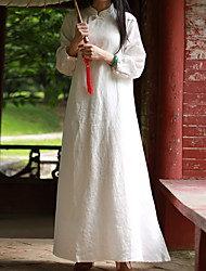 CYNTHIA Women's Casual/Daily Chinoiserie Tunic DressSolid Stand Maxi Long Sleeve White Linen Fall Mid Rise
