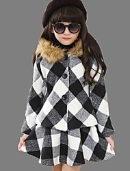 Girl's Casual/Daily Plaid DressCotton Winter Red / White