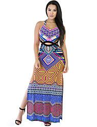 Women's Maxi Double Slide Multi Color Print Dress