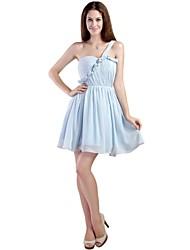 Kurz / Mini Chiffon Elegant Brautjungfernkleid - A-Linie Ein/Schulter mit Plissee
