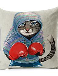 Polyester Decorative Cushion Pillow Cover Print Animal Boxing Cat Sofa Home Decor 45x45cm