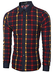 Men's Casual/Daily Simple Spring / Fall ShirtCheck Shirt Collar Long Sleeve Blue / Red Cotton Medium